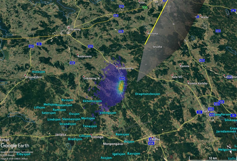 Szwecja: Znamy prawdopodobny obszar spadku meteorytów po bolidzie z 7 listopada